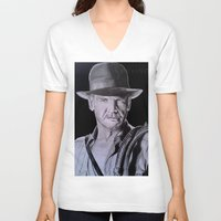 indiana jones V-neck T-shirts featuring Harrison Ford (Indiana Jones) by Andulino