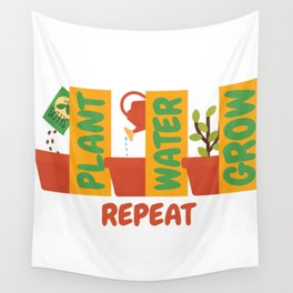 Plant Water Grow Repeat - Gardener Nature Wall Tapestry