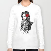 tattoo Long Sleeve T-shirts featuring Tattoo Lolita by Rachel Caldwell