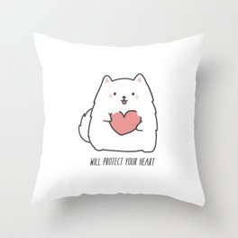 Fluff will Protect Your Heart Throw Pillow