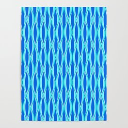 Mid-Century Ribbon Print, Shades of Blue and Aqua Poster