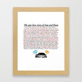 Epic Love Story of Sam and Dean Framed Art Print