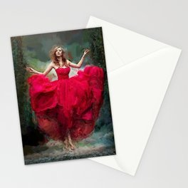Lady in red portrait painting bedroom wall decor Stationery Cards