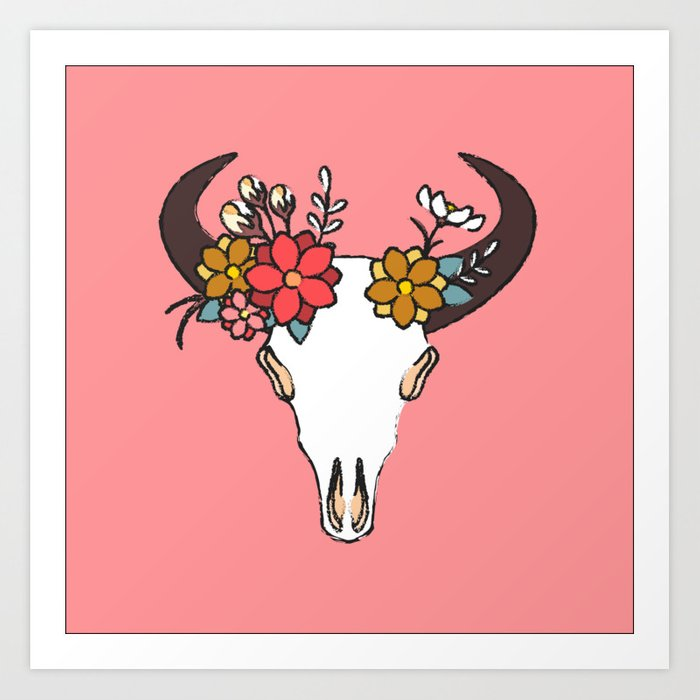 Animal Skull Valentine Art Print By Huntercolgate Society6