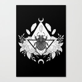 Scarab Queen // Black & White Canvas Print