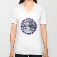 earth V-neck T-shirts featuring Earth by Spooky Dooky