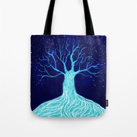 frozen Tote Bags featuring Frozen by Nancy Woland
