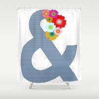 ampersand Shower Curtains featuring Ampersand by Little Light Prints
