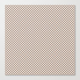 Warm Taupe and White Polka Dots Canvas Print
