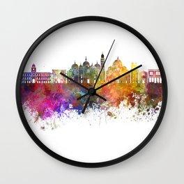Padua skyline in watercolor background Wall Clock