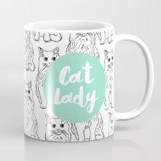 Cat Lady Cat Pattern - turquoise blue  Mug
