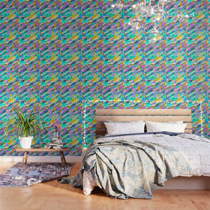 Camouflage Pattern Painting Abstract Background In Green Blue Purple Yellow Wallpaper By Timla
