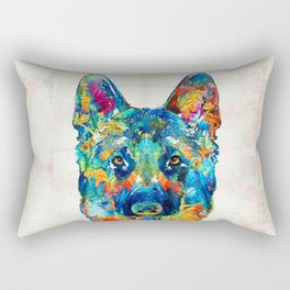 Colorful German Shepherd Dog Art By Sharon Cummings Rectangular Pillow