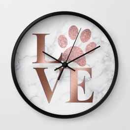 Love is a Four Letter Word - Rose Gold and Marble Wall Clock