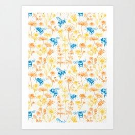 Buzzing Herb Garden (Yellow, Orange and Blue) Art Print