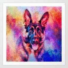 Jazzy German Shepherd Colorful Dog Art by Jai Johnson Art Print