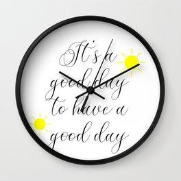 Good Vibes Morning Motivational Quote Mug, Inspirational Quotes Wall Clock