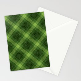 Green Plaid Pattern Stationery Cards