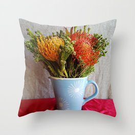 Flowers in a vase - with Pincushion Protea Throw Pillow