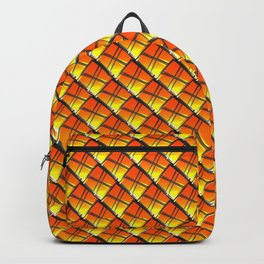Cross square tile made of red rhombuses with luminous gaps. Backpack