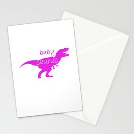 Family Dino girl children funny gift Stationery Cards