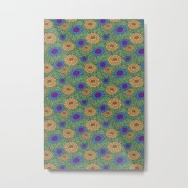 Leafy Green Floral Pattern Metal Print