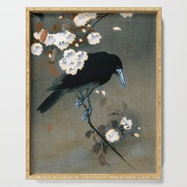 Vintage Japanese Crow and Blossom Woodblock Print Serving Tray