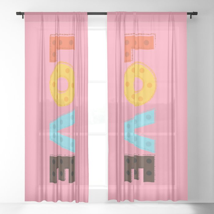 happy LOVE - typography Sheer Curtain
