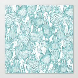 just chickens teal white Canvas Print