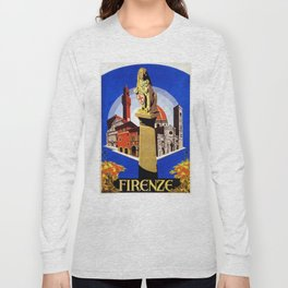 Florence Firenze travel, lion statue Long Sleeve T-shirt