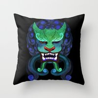 foo fighters Throw Pillows featuring Foo dog by kitsunebis