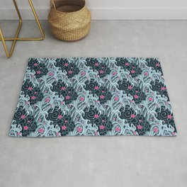 Japanese Waves with Cherry Blossoms Rug