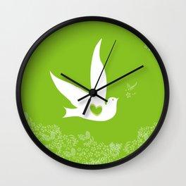Wings of Love - Green Wall Clock