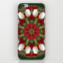 Tulip Kaleidoscope - Red And White iPhone Skin