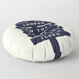 City signpost world destinations Floor Pillow