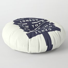 City signpost world destinations Floor Pillow