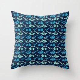 Fish and Eye seamless pattern. Throw Pillow