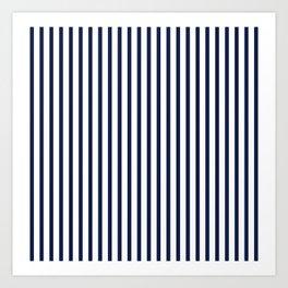 Navy Blue Breton Vertical Stripes Lines Minimal Stripe Line Art Print