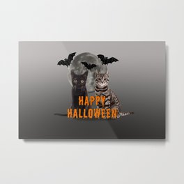 two cats with moon and bats - Happy Halloween Metal Print