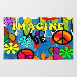 Retro Peace Symbols and Retro Flowers Rug