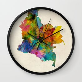Colombia Watercolor Map Wall Clock