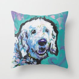 Fun Doodle Dog bright colorful Pop Art by Lea Throw Pillow