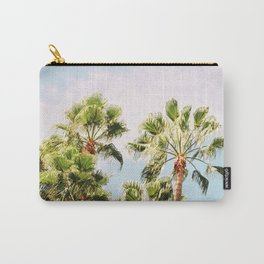 Green palm trees on blue | Marrakech travel photography | Colorful film photo art Carry-All Pouch