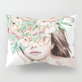She Wore Flowers in Her Hair Island Dreams Pillow Sham