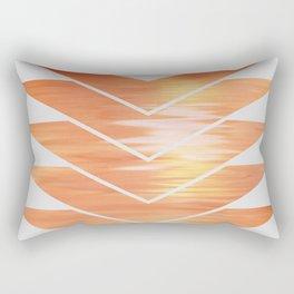 NL 2 Coral Sunset Chevron on Gray Rectangular Pillow