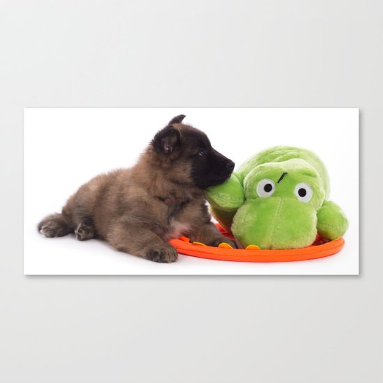 Puppy cuddling green toy Canvas Print