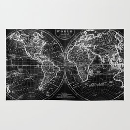 Black and White World Map (1795) Inverse Rug