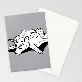 Tired Unicorn broken Stationery Cards