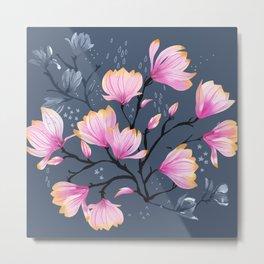 Pink Watercolor Magnolia Melancholy Floral Pattern Metal Print