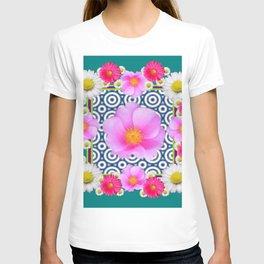 Teal Color Art Fuchsia Gerbera Daisy Flowers Pink Roses Patterns T-shirt